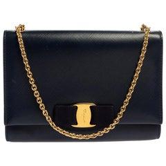 Salvatore Ferragamo Blue Leather Vara Bow Chain Shoulder Bag