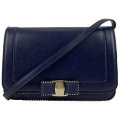 Salvatore Ferragamo Blue Leather Vara RW Bow Flap Shoulder Bag
