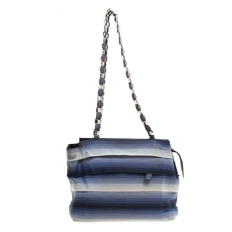 0e83342547 Salvatore Ferragamo Blue Ombre Canvas Shoulder Bag For Sale at 1stdibs