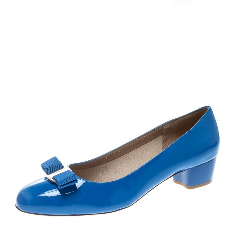 5578df216ee Salvatore Ferragamo Blue Patent Leather Vara Bow Block Heel Pumps Size 41