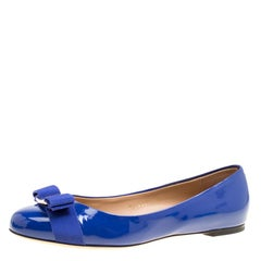 Salvatore Ferragamo Blue Patent Leather Varina Ballet Flats Size 39
