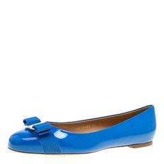 Salvatore Ferragamo Blue Patent Leather Varina Ballet Flats Size 40.5