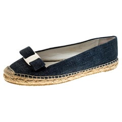 Salvatore Ferragamo Blue Printed Suede Mandy Vara Bow Espadrille Flats Size 38.5