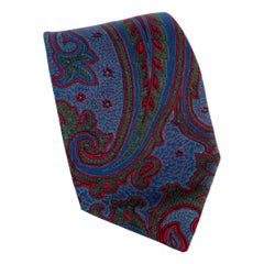 Salvatore Ferragamo Blue Red Silk Paisley Tie 1980s