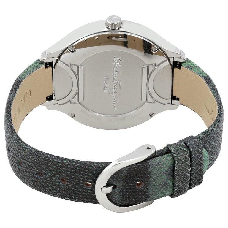 Contemporary Salvatore Ferragamo Blue Stainless Steel FIZ040015 Women's Wristwatch 38MM For Sale