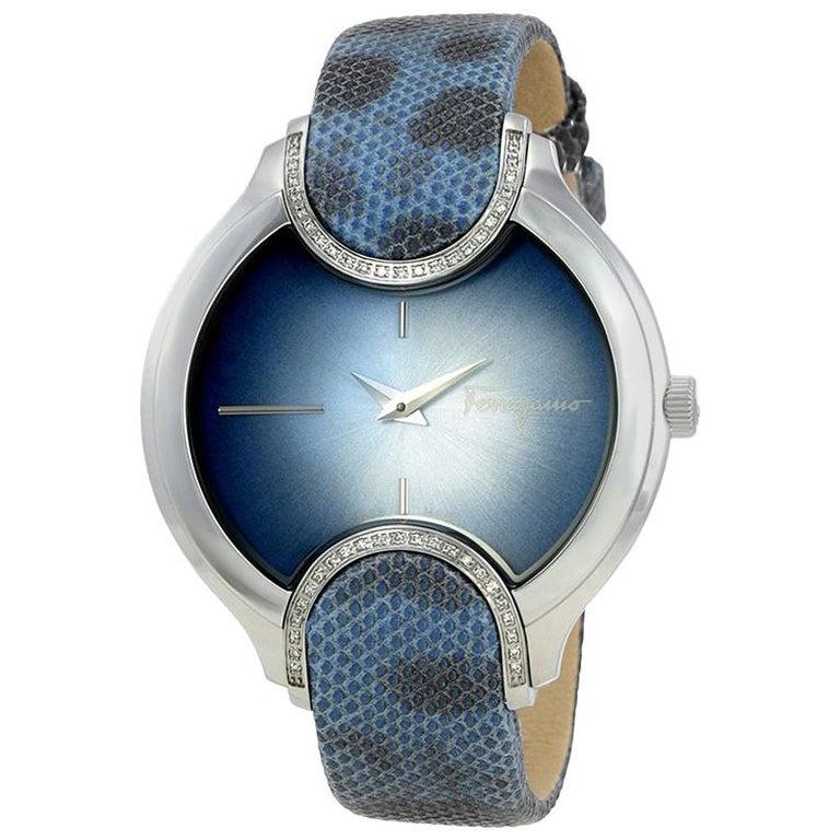 Salvatore Ferragamo Blue Stainless Steel FIZ040015 Women's Wristwatch 38MM For Sale