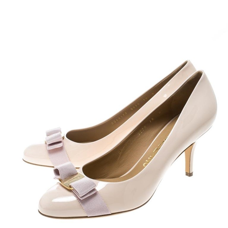 4d22b0834dc Salvatore Ferragamo Blush Pink Patent Leather Carla Vara Bow Pumps Size 40.5