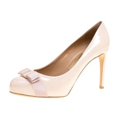 Salvatore Ferragamo Blush Pink Patent Leather Carla Vara Bow Pumps Size 41.5