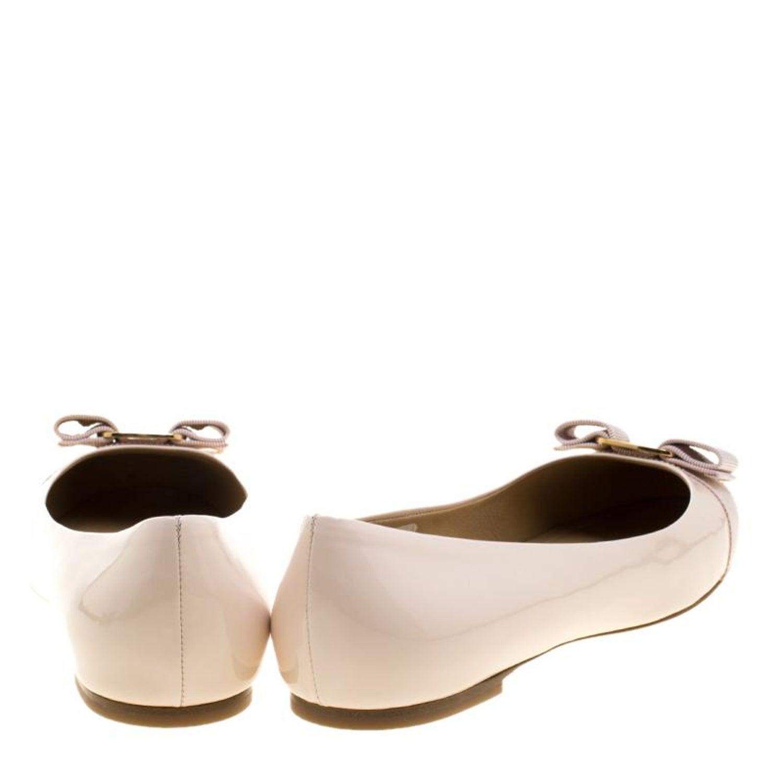 cce268868b818 Salvatore Ferragamo Blush Pink Patent Leather Varina Ballet Flats Size 41  at 1stdibs