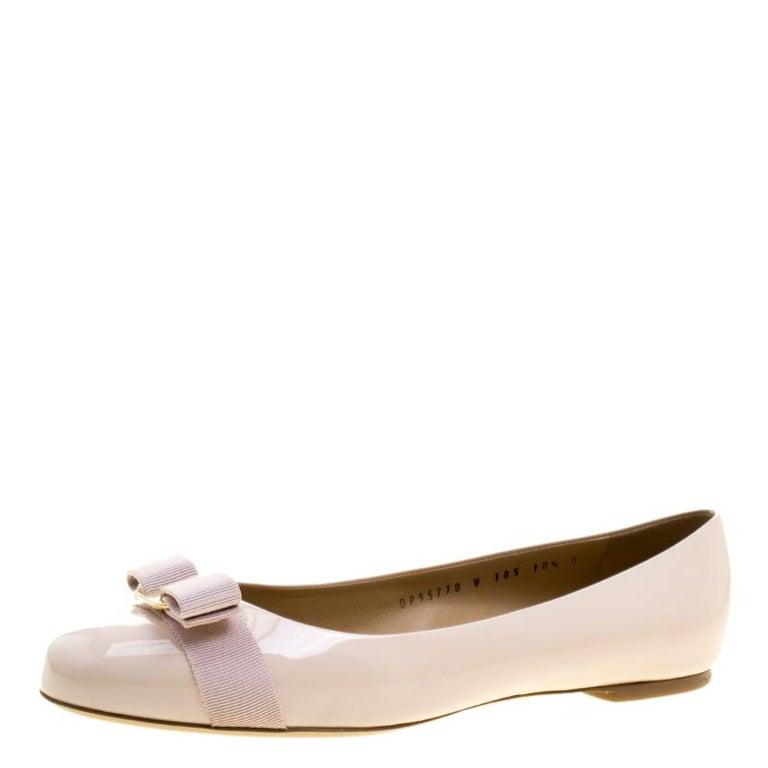 837cb2b3086d0 Salvatore Ferragamo Blush Pink Patent Leather Varina Ballet Flats Size 41  For Sale