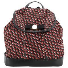 Salvatore Ferragamo Bow Flap Backpack Printed Nylon Medium