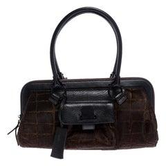 Salvatore Ferragamo Brown/Black Calfhair and Leather Satchel