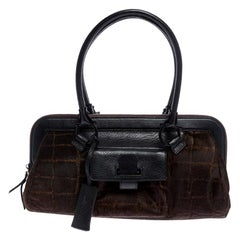 Salvatore Ferragamo Brown/Black Calfhair and Leather Satchel