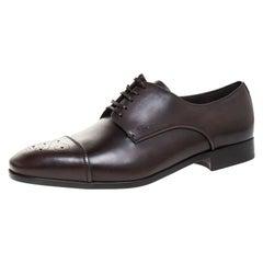 Salvatore Ferragamo Brown Brogue Leather Cairo Derby Size 44