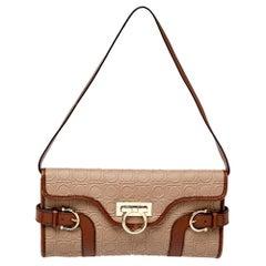 Salvatore Ferragamo Brown Embossed Leather Gancio Flap Baguette Shoulder Bag