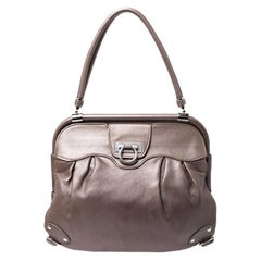 Salvatore Ferragamo Brown Leather Frame Satchel