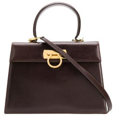 Salvatore Ferragamo Brown Leather Gancini Shoulder Bag