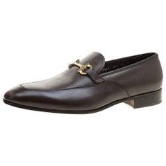 Salvatore Ferragamo Brown Leather Geremy Bit Loafers Size 46