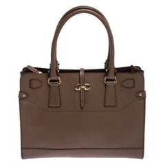 Salvatore Ferragamo Brown Leather Medium Briana Tote