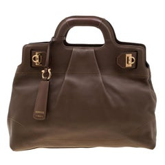 Salvatore Ferragamo Brown Leather Medium Soft W Top Handle Bag