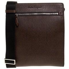 Salvatore Ferragamo Brown Leather Messenger Bag
