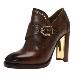 Salvatore Ferragamo Brown Leather Nevers Boots Size 38.5