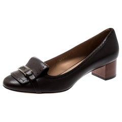 Salvatore Ferragamo Brown Leather Ninu Loafer Pumps Size 40.5