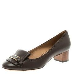 Salvatore Ferragamo Brown Leather Ninu Pumps Size 40