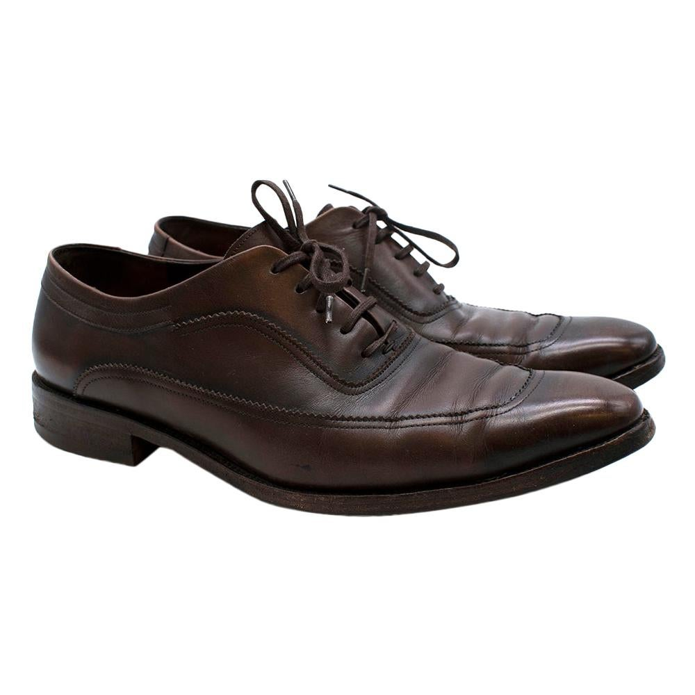 Salvatore Ferragamo Brown Leather Oxford Lace-Up Shoes - SIze US 9