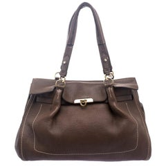 Salvatore Ferragamo Brown Leather Satchel