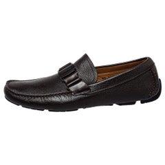 Salvatore Ferragamo Brown Leather Slip On Loafers Size 42