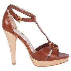 SALVATORE FERRAGAMO brown leather T-Strap Platform Sandals Shoes 6
