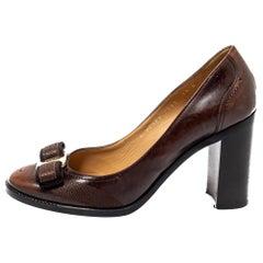 Salvatore Ferragamo Brown Leather Vara Bow Block Heels Pumps Size 38