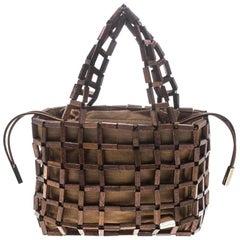 Salvatore Ferragamo Brown Rod Connector Wood Drawstring Bag