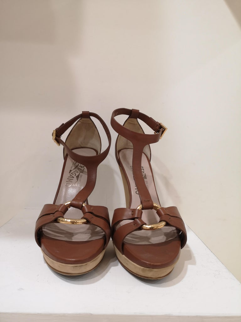 Women's Salvatore Ferragamo  brown sandals For Sale