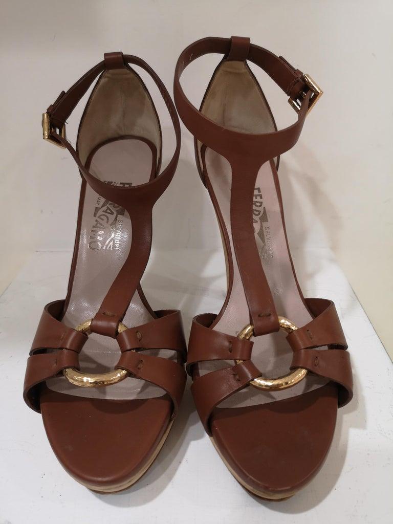 Salvatore Ferragamo  brown sandals For Sale 1