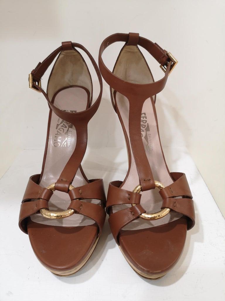 Salvatore Ferragamo  brown sandals For Sale 2