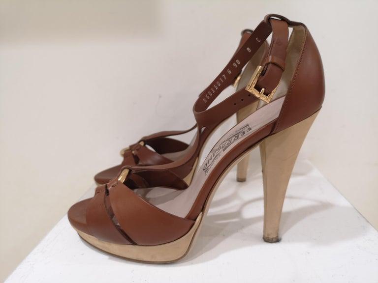 Salvatore Ferragamo  brown sandals For Sale 3