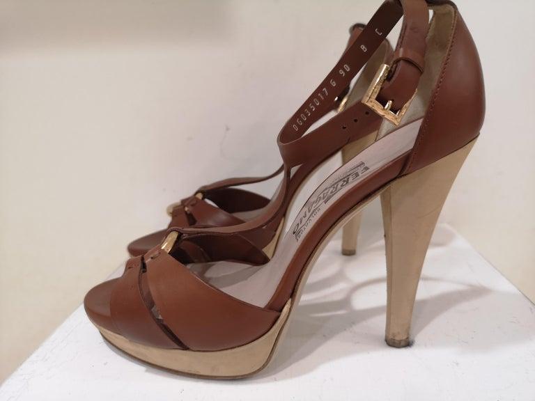 Salvatore Ferragamo  brown sandals For Sale 4