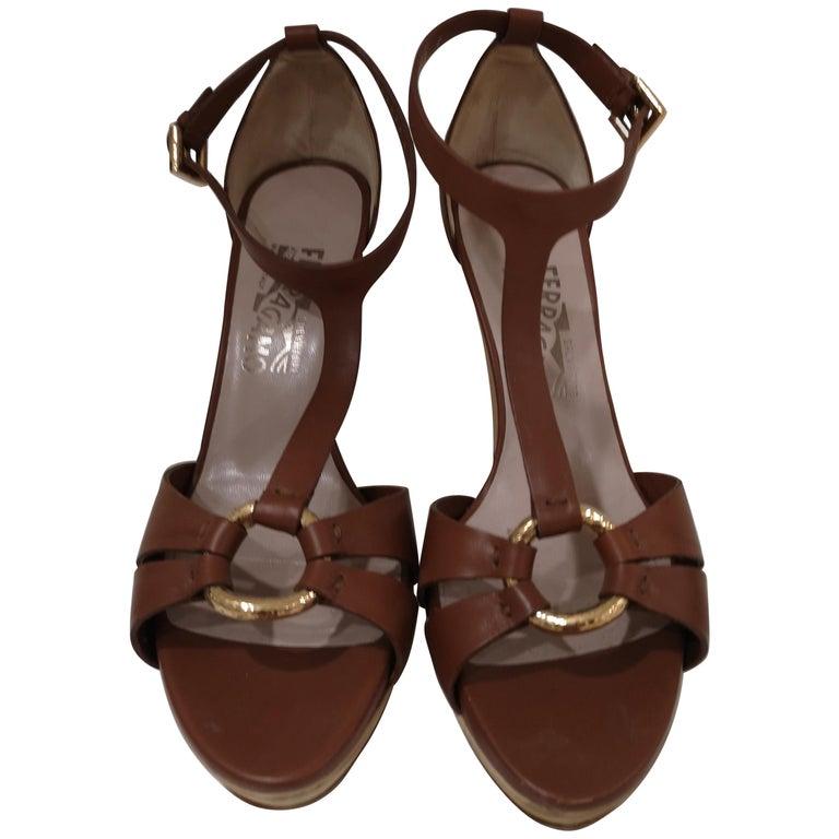 Salvatore Ferragamo  brown sandals For Sale
