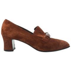 Salvatore Ferragamo Brown Suede Heeled Loafers