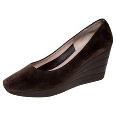 Salvatore Ferragamo Brown Suede Wedge Pumps Size 37.5