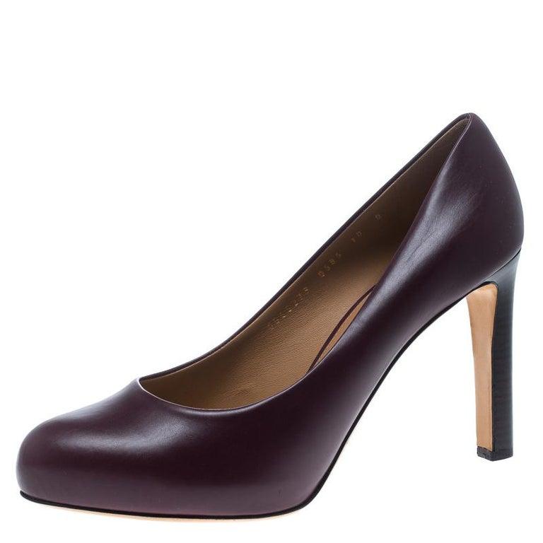 a338a82d1a Salvatore Ferragamo Burgundy Leather Leo Pumps Size 40.5 For Sale at ...