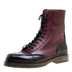 Salvatore Ferragamo Burgundy Leather Mallorca Platform Ankle Boots Size 42