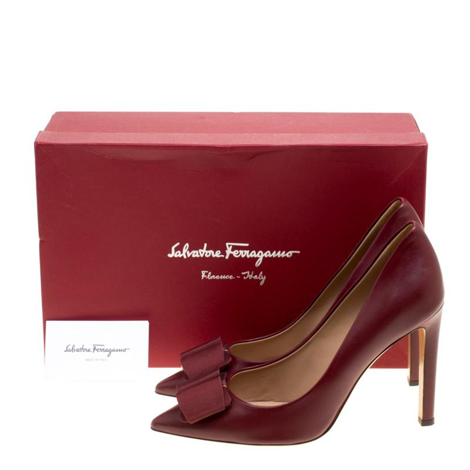 e4d7b4931 Salvatore Ferragamo Burgundy Leather Mimi Bow Detail Pointed Toe Pumps Size  40.5 at 1stdibs