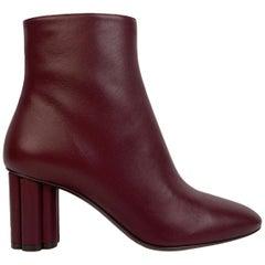Salvatore Ferragamo Burgundy Leather Molfetta 70 Ankle Boots 7.5C 38C