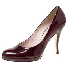 Salvatore Ferragamo Burgundy Patent Leather Pumps Size 39