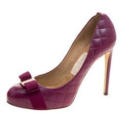 Salvatore Ferragamo Burgundy Quilted Leather Pimpa Vara Bow Pumps Size 41
