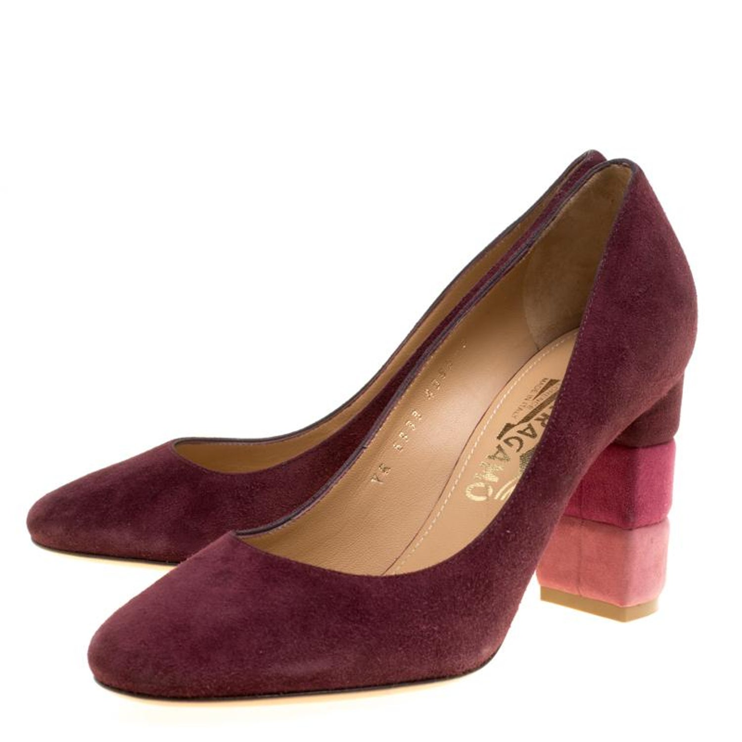 5ad27ed7f5b Salvatore Ferragamo Burgundy Suede Madia Block Heel Pumps Size 37 For Sale  at 1stdibs