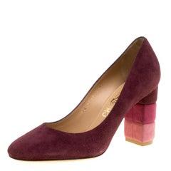 Salvatore Ferragamo Burgundy Suede Madia Block Heel Pumps Size 37